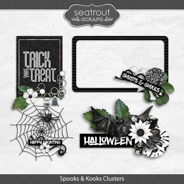 Spooks And Kooks Clusters Digital Art - Digital Scrapbooking Kits
