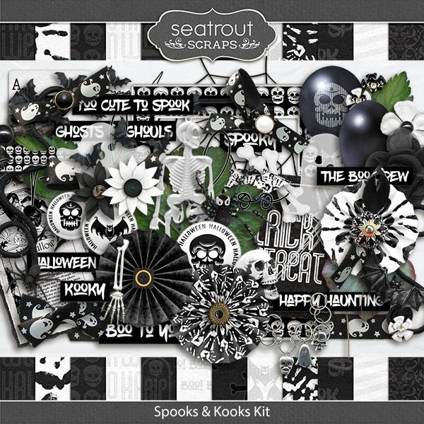 Spooks And Kooks Kit Digital Art - Digital Scrapbooking Kits