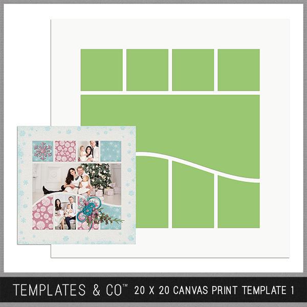 20 X 20 Canvas Print Template 1 Digital Art - Digital Scrapbooking Kits