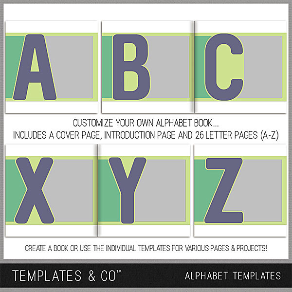 Alphabet Templates Digital Art - Digital Scrapbooking Kits