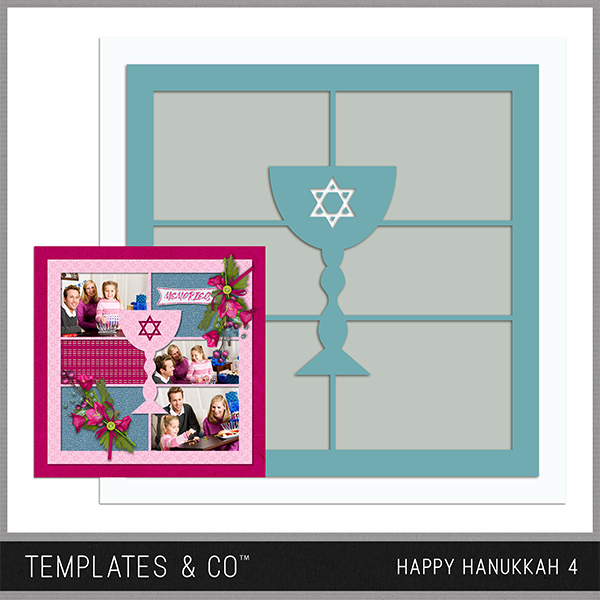 Happy Hanukkah Template 4 Digital Art - Digital Scrapbooking Kits