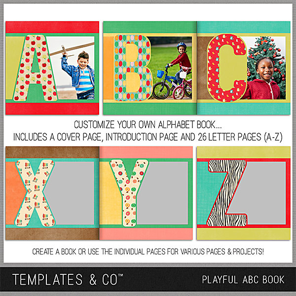 ABC Playful Book Predesigned And Editable Digital Art - Digital Scrapbooking Kits