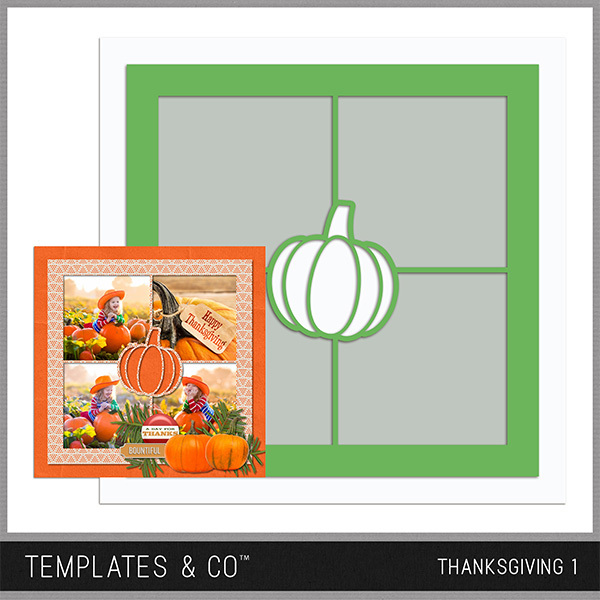 Thanksgiving Template 1 Digital Art - Digital Scrapbooking Kits