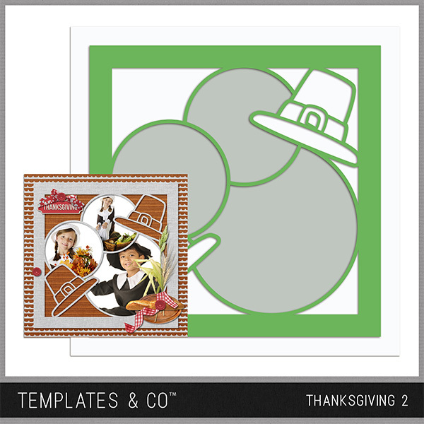 Thanksgiving Template 2 Digital Art - Digital Scrapbooking Kits