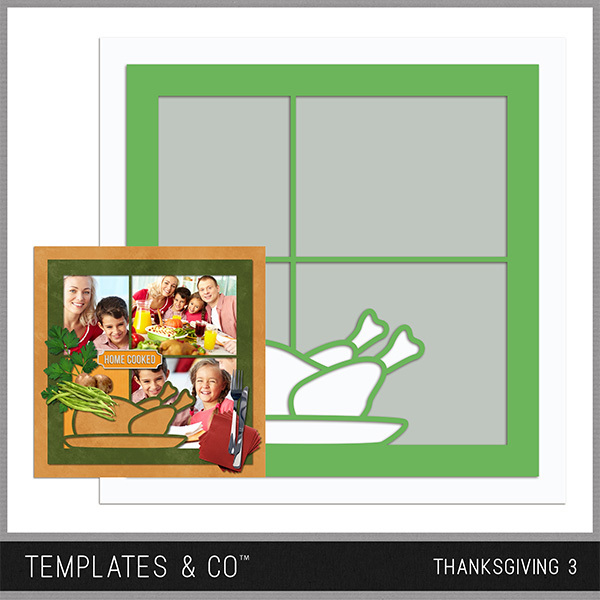Thanksgiving Template 3 Digital Art - Digital Scrapbooking Kits