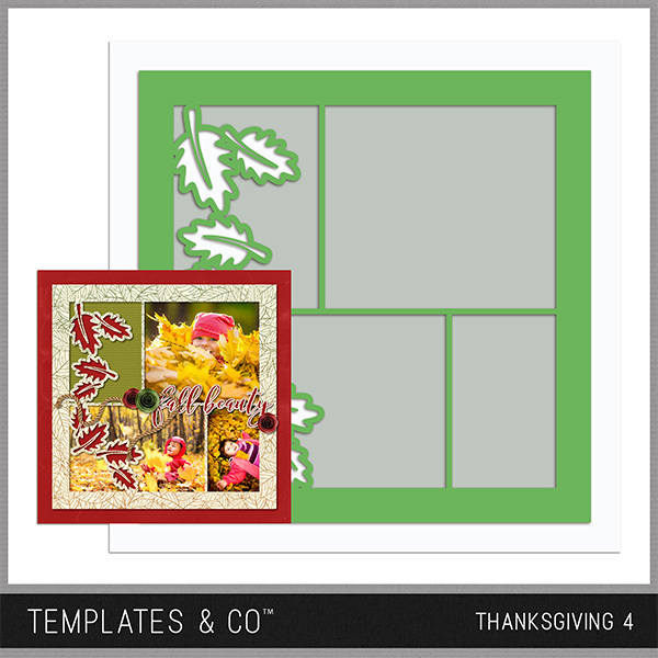 Thanksgiving Template 4 Digital Art - Digital Scrapbooking Kits