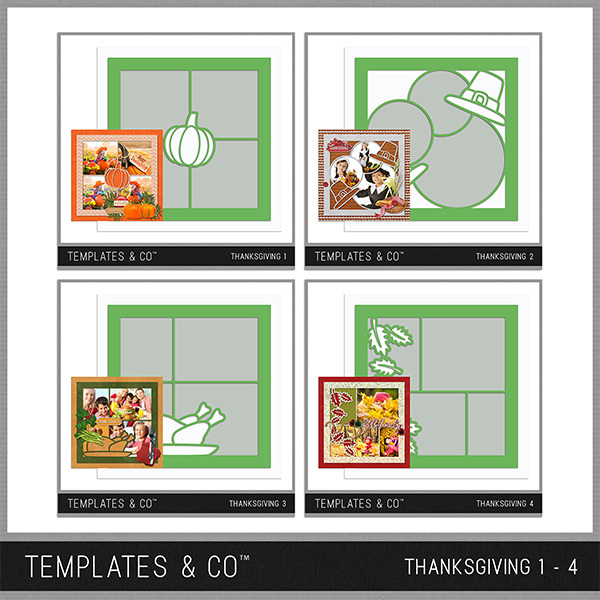 Thanksgiving Template Bundle 1 - 4 Digital Art - Digital Scrapbooking Kits