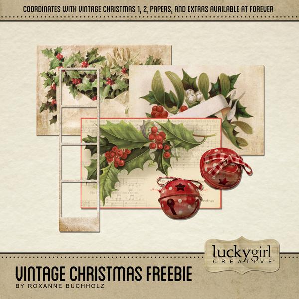 Vintage Christmas Freebie Digital Art - Digital Scrapbooking Kits