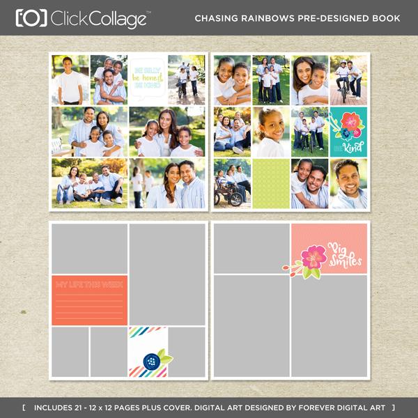 Chasing Rainbows Pre-designed Book Digital Art - Digital Scrapbooking Kits
