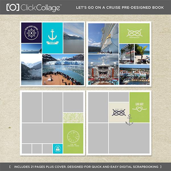 Let's Go On A Cruise Pre-designed Book Digital Art - Digital Scrapbooking Kits