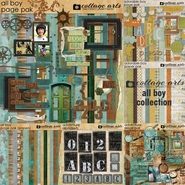 All Boy Collection Digital Art - Digital Scrapbooking Kits