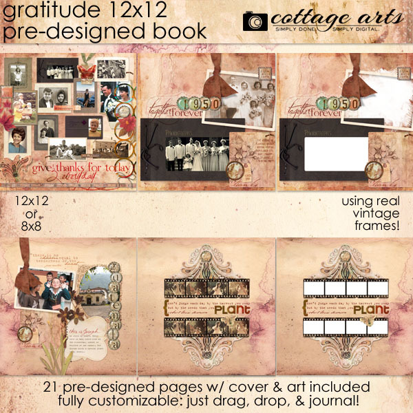 Gratitude 12x12 Pre-designed Book Digital Art - Digital Scrapbooking Kits