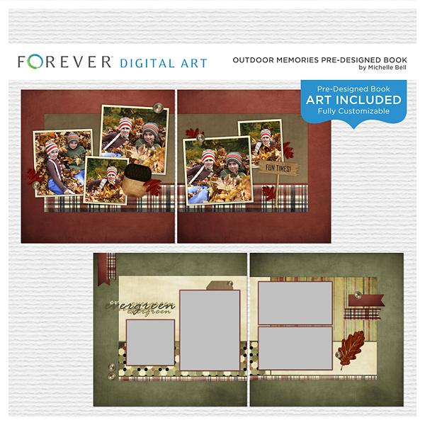 Outdoor Memories Pre-designed Book Digital Art - Digital Scrapbooking Kits