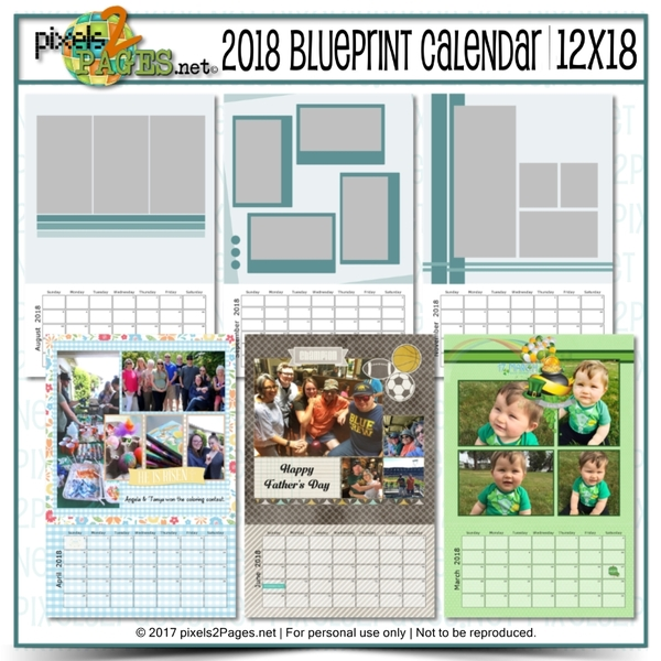 2018 Blueprint Calendar 12x18 Digital Art - Digital Scrapbooking Kits