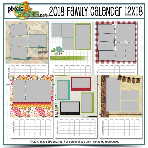 2018 Family Calendar 12x18 Digital Art - Digital Scrapbooking Kits