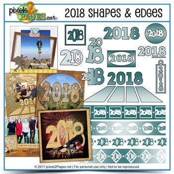 2018 Shapes & Edges Digital Art - Digital Scrapbooking Kits
