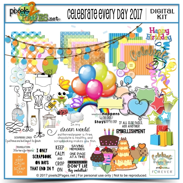 Celebrate Every Day 2017 Digital Art - Digital Scrapbooking Kits