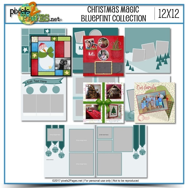 Christmas Magic Blueprint Collection Digital Art - Digital Scrapbooking Kits