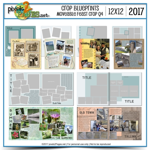 Crop Blueprints - Moveable Feast Q4 2017 12x12 Digital Art - Digital Scrapbooking Kits