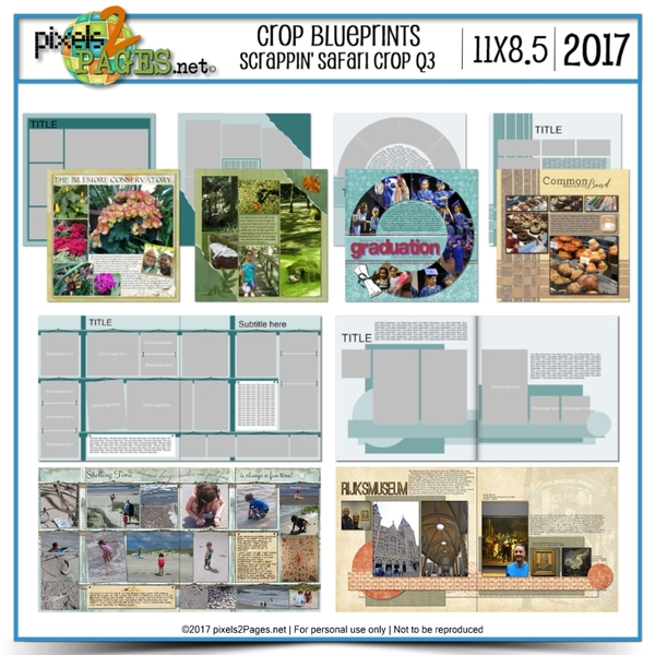 Crop Blueprints - Scrappin Safari Q3 2017 11x8.5 Digital Art - Digital Scrapbooking Kits