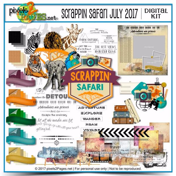 Scrappin Safari July 2017 Digital Art - Digital Scrapbooking Kits