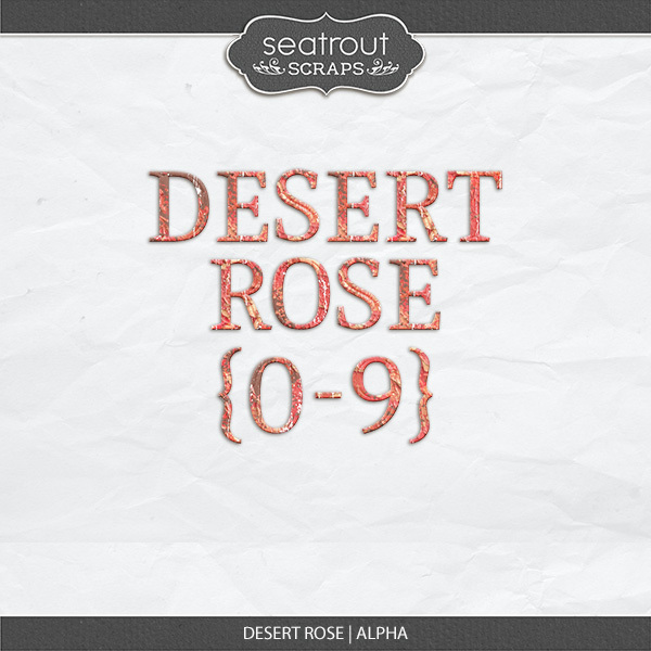 Desert Rose Alpha Set Digital Art - Digital Scrapbooking Kits