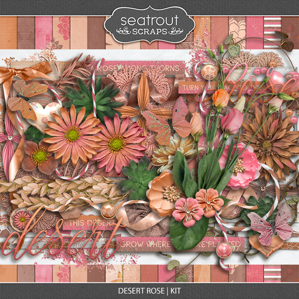 Desert Rose Kit Digital Art - Digital Scrapbooking Kits