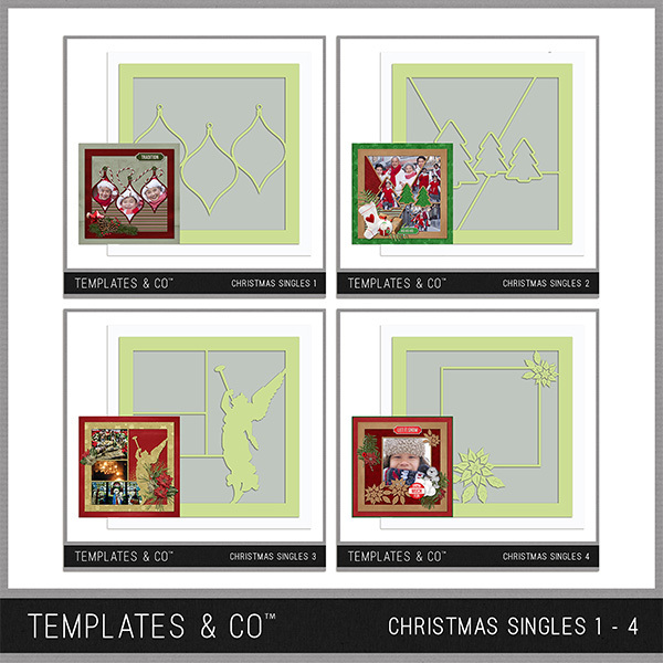Christmas Template Bundle 1 - 4 Digital Art - Digital Scrapbooking Kits