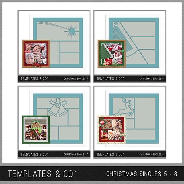 Christmas Template Bundle 5 - 8 Digital Art - Digital Scrapbooking Kits