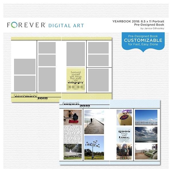 Yearbook 2018 8.5 X 11 Portrait Pre-designed Book Digital Art - Digital Scrapbooking Kits