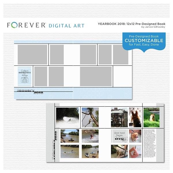 Yearbook 2018 12x12 Pre-designed Book Digital Art - Digital Scrapbooking Kits