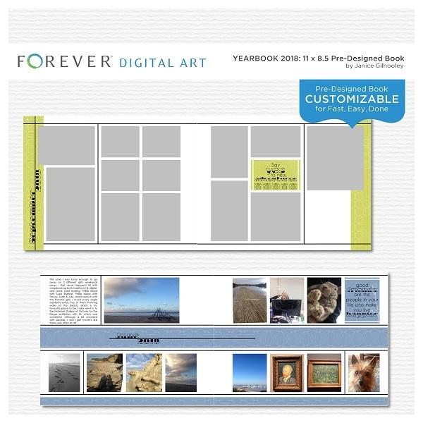 Yearbook 2018 11 X 8.5 Pre-designed Book Digital Art - Digital Scrapbooking Kits