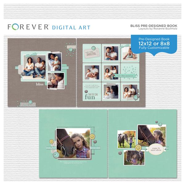 Bliss Pre-designed Book Digital Art - Digital Scrapbooking Kits