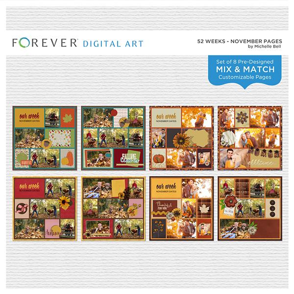 52 Weeks - November Pages Digital Art - Digital Scrapbooking Kits