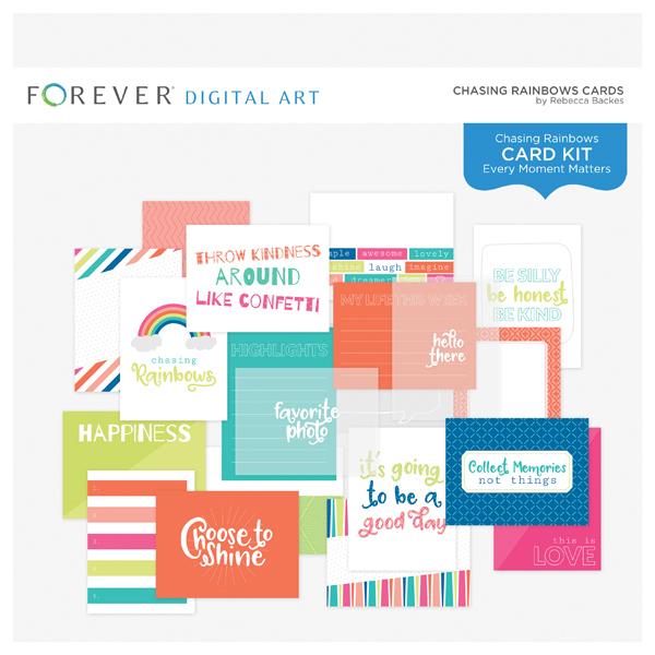 Chasing Rainbows Cards Digital Art - Digital Scrapbooking Kits