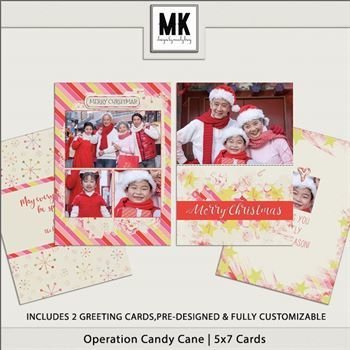 Operation Candy Cane - 5x7 Christmas Cards Digital Art - Digital Scrapbooking Kits
