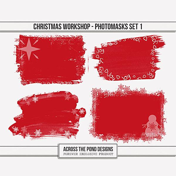 Christmas Workshop - Photo Masks Set 1 Digital Art - Digital Scrapbooking Kits