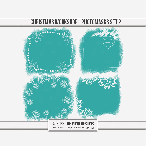 Christmas Workshop - Photo Masks Set 2 Digital Art - Digital Scrapbooking Kits