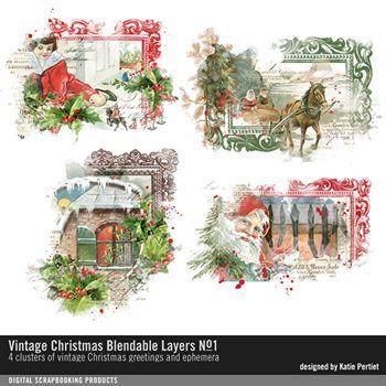 Vintage Christmas Blendable Layers No. 01 Digital Art - Digital Scrapbooking Kits