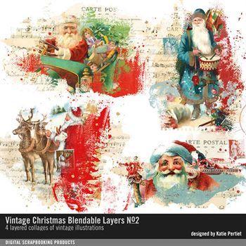 Vintage Christmas Blendable Layers No. 02 Digital Art - Digital Scrapbooking Kits