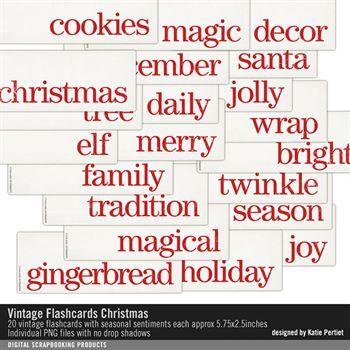 Vintage Flashcards Christmas Digital Art - Digital Scrapbooking Kits