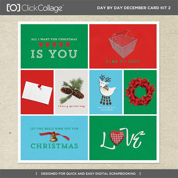 Day By Day December Card Kit 2 Digital Art - Digital Scrapbooking Kits