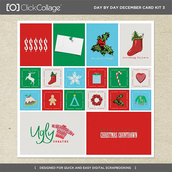 Day By Day December Card Kit 3 Digital Art - Digital Scrapbooking Kits