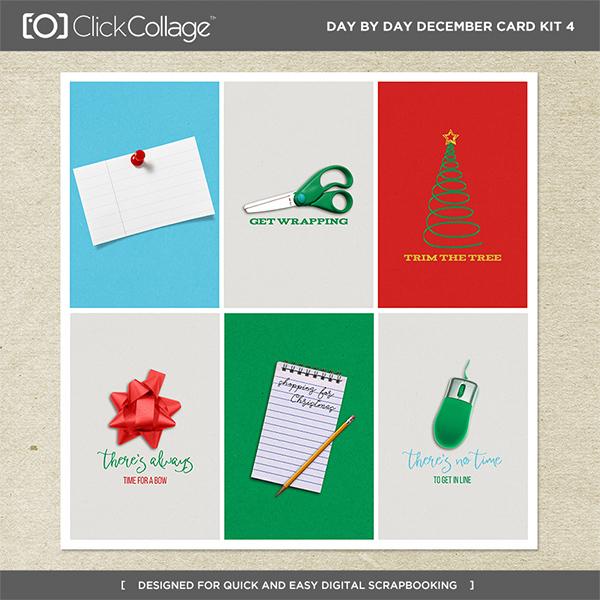Day By Day December Card Kit 4 Digital Art - Digital Scrapbooking Kits
