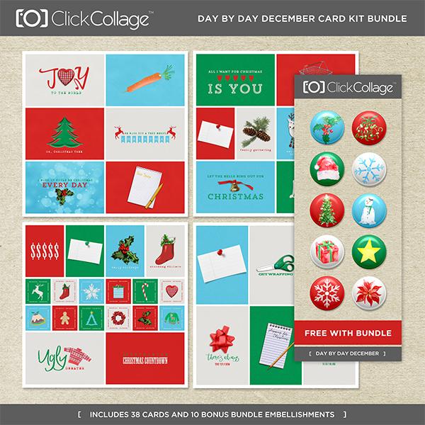 Day By Day December Card Kit Bundle Digital Art - Digital Scrapbooking Kits