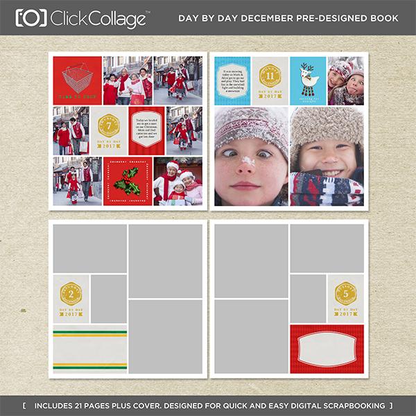 Day By Day December Pre-designed Book Digital Art - Digital Scrapbooking Kits