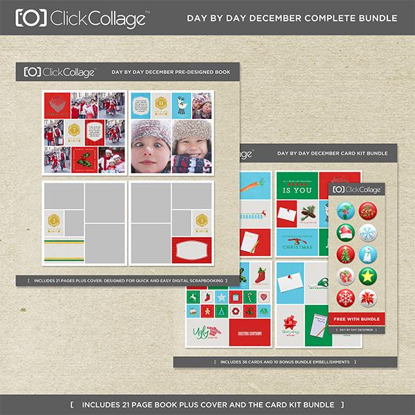 Day By Day December Pre-designed Book And Card Kit Bundle Digital Art - Digital Scrapbooking Kits