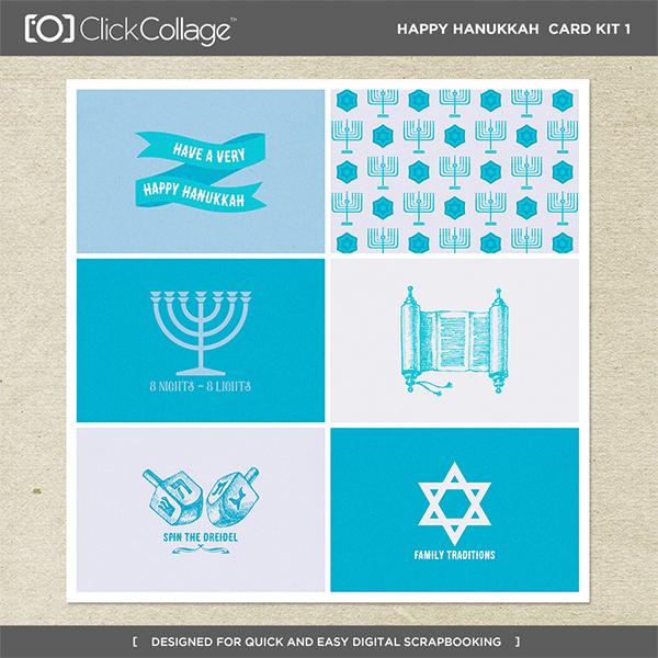 Happy Hanukkah Card Kit 1 Digital Art - Digital Scrapbooking Kits