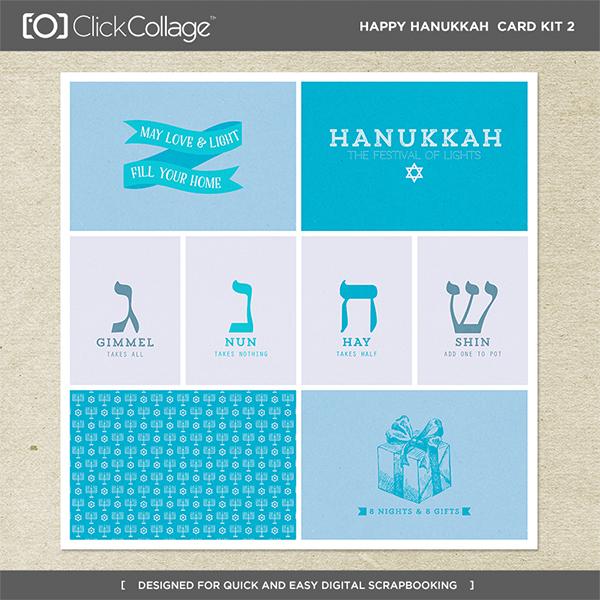 Happy Hanukkah Card Kit 2 Digital Art - Digital Scrapbooking Kits