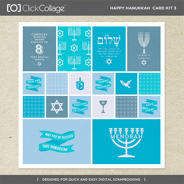 Happy Hanukkah Card Kit 3 Digital Art - Digital Scrapbooking Kits